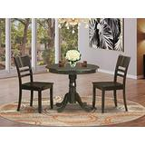 East West Furniture Wooden Dining Table Set- 2 Excellent Wooden Dining Room Chairs - A Wonderful Round Wooden Dining Table- Wooden Seat and Cappuccino Dining Table