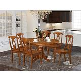 East West Furniture modern dining table set 6 Great dining room chairs - A Gorgeous round kitchen table- Saddle Brown Color Wooden Seat Saddle Brown Butterfly Leaf wood kitchen table