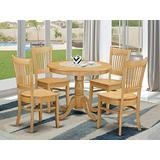 East West Furniture Dinette set 4 Great wood dining chairs - A Gorgeous modern dining table- Oak Color Wooden Seat Oak round dining table