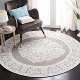 Safavieh Marbella Collection MRB615A Handmade Chenille Area Rug, 6' x 6' Round, Light Grey / Ivory