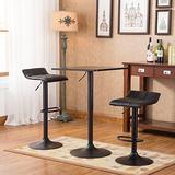 Roundhill Furniture Belham Black Square Top Adjustable Height with Black Leg and Base Metal Bar Table and 2 Swivel Black Bonded Leather Adjustable Bar Stool Bar Sets