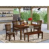 East West Furniture LYVA6-ESP-C 6-Piece Dining Set – 4 Dining Chairs, a Wooden Table and a Dining Bench - Rectangular Top Table and Bench – Slatted Back and Linen Fabric Seat (Mahogany Finish)