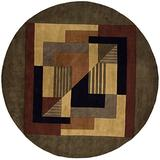 """Momeni Rugs New Wave Collection, 100% Wool Hand Carved & Tufted Contemporary Area Rug, 5'9"""" Round, Pomegranat"""