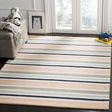 Safavieh Kids Collection SFK916A Handmade Stripe Wool Area Rug, 4' x 6', Ivory / Multi