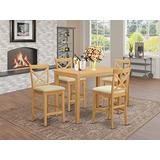 YACF5-OAK-C 5 Pc counter height pub set - counter height Table and 4 bar stools.