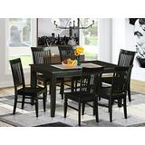 East West Furniture 7-Pc Dining Set Included a Modern Rectangular Dining Table and 6 Dining Room Chairs - Solid Wood Dining Chairs Seat & Slatted Back - Black Finish