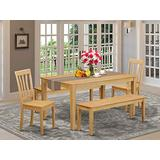 East West Furniture Small Kitchen Table Set 5 Piece - Wooden Dining Room Chairs Seat - Oak Finish Modern Dining Table and Bench