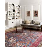 """Loloi Loren Collection Vintage Printed Persian Area Rug 1'-6"""" x 1'-6"""" Square Swatch Blue/Red"""