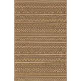 Unique Loom Outdoor Modern Collection Geometric Striped Abstract Transitional Indoor and Outdoor Flatweave Light Brown Area Rug (5' 0 x 8' 0)