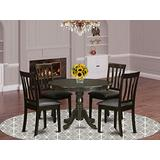 East West Furniture HLaN5-CaP-LC 5-Piece Dinette Set Included a Pedestal Dining Table and 4 Wooden Dining Room Chairs - Faux Leather Dining Chairs Seat & Sltted Back - Cappuccino Finish