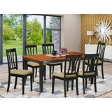 East West Furniture NIAN7-BCH-C 7-Piece Kitchen Dining Room Set – 6 Dining Room Chairs and Dining Room Table – Rectangular Table Top – Slatted Back and Linen Fabric Chair Seat (Black & Cherry Finish)