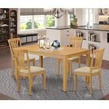 East West Furniture CAAV5-OAK-C Rectangular Dining Table Set 5 Pc - Linen Fabric Dining Room Chairs Seat - Oak Finish Dining Room Table and Structure
