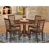 East West Furniture HLML5-MAH-C Dining Room Set 5 Pc - Linen Fabric Dining Chairs Seat – Mahogany Finish Dining Room Table and Frame