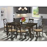 East West Furniture HEBO7-CAP-C Dining Room Set 7 Pc - Linen Fabric Dining Room Chairs Seat – Cappuccino Finish Kitchen Table and Frame