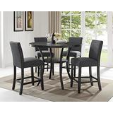 Roundhill Furniture Collection Biony Espresso Wood Counter Height Dining Set with Gray Fabric Nailhead Stools,