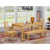 East West Furniture Modern Dining Table Set 5 Piece - Wooden Dining Chairs Seat - Oak Finish Dining Room Table and Kitchen Bench