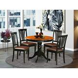 East-West Furniture dining set- 4 Fantastic dining chairs - A Beautiful round dining table- Faux Leather seat and Black Finnish Dining Table