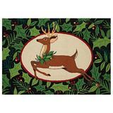 Peking Handicraft Woodland Deer Holiday Area Rug Pillow, Green/Brown
