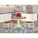 East West Furniture Modern Dining Table Set- 2 Amazing Wooden Dining Chairs - A Beautiful Dining Room Table- Wooden Seat- Buttermilk and Cherry Round Wooden Table