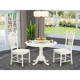 East West Furniture 3-Piece Modern Dining Room Set Included a Round Dining Table and 2 Kitchen Dining Chair - Solid Wood Dining Chairs Seat & Slatted Back - Linen White Finish