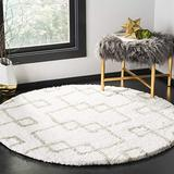 Safavieh Toronto Shag Collection SGT609A Handmade Moroccan Boho 1.25-inch Thick Area Rug, 5' x 5' Round, Ivory / Silver