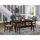 East West Furniture CAPF6-CAP-C Rectangular Dining Table Set 6 Pc - Linen Fabric Dining Chairs Seat - Cappuccino Finish Dining Room Table and Bench