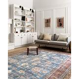 """Loloi Loren Collection Vintage Printed Persian Area Rug 1'-6"""" x 1'-6"""" Square Swatch Blue/Brick"""