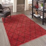 """Momeni Rugs Atlas Collection 100% Wool Hand Knotted Transitional Area Rug, 3'6"""" x 5'6"""", Red"""