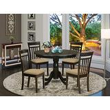 East West Furniture HLCA5-CAP-C Dining Room Set 5 Pc - Linen Fabric Dining Chairs Seat – Cappuccino Finish Dining Room Table and Frame