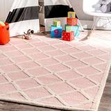 nuLOOM Takako Hand Hooked Wool Area Rug, 5' x 8', Pink