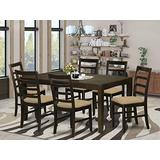 East West Furniture LYPF7-CAP-C 7-Piece Dining Room Set – Rectangular Top Dining Room Table – 6 Dining Room Chairs Ladder Back and Linen Fabric Seat (Cappuccino Finish)