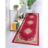 Unique Loom 3124940 2 8 feet (2' x 8') Runner Mashad Area Rug, 2 Feet 2 Inch x 8 Feet 2 Inch, Burgundy/Ivory