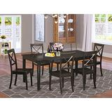 East West Furniture HEBO7-CaP-W 7-Piece Dining Set Included a Self-Storing Butterfly Leaf Kitchen Dining Room Table and 6 Modern Dining Room Chairs - Solid Wood Dining Chair Seat & X-Back - Cappuccino Finish