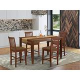 East West Furniture DUVN5H-MAH-C Dining Room Set 5 Pc - Linen Fabric Dining Room Chairs Seat – Mahogany Finish Kitchen Table and Frame