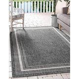 Unique Loom Outdoor Border Collection Casual Solid Border Transitional Indoor and Outdoor Flatweave Black Area Rug (8' 0 x 11' 4)