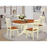 East West Furniture dining set 4 excellent wood dining chairs - A Attractive pedestal dining table- cherry Color Wooden Seat cherry and buttermilk Butterfly Leaf wood dining table