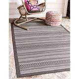 Unique Loom Outdoor Border Collection Striped Moroccan Transitional Indoor and Outdoor Flatweave Gray Area Rug (6' 0 x 9' 0)