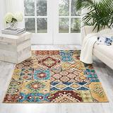 """Nourison Aria Vintage Bohemian Moroccan Patchwork Area Rug, 3 Feet 11 Inches by 5 Feet 11 Inches (3'11"""" x 5'11""""), Sunset Beige/ Red"""