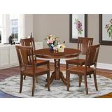 East West Furniture 5-Pc Dining Room Set Included a Round Kitchen Dining Table and 4 Wood dining Chairs - Solid Wood Dining Chairs Seat & Panel Back - Mahogany Finish