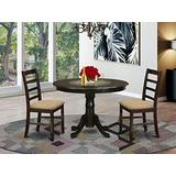 East West Furniture HLAN3-CAP-C Kitchen Set 3 Pc - Linen Fabric Dining Room Chairs Seat – Cappuccino Finish Wooden Table and Frame