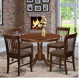 East West Furniture HLNO5-MAH-C Dining Room Set 5 Pc - Linen Fabric Dining Chairs Seat – Mahogany Finish Wood Kitchen Table and Frame