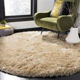 Safavieh Venice Shag Collection SG256C Handmade Glam 3-inch Extra Thick Area Rug, 6' x 6' Round, Champagne