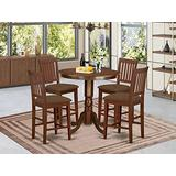 East West Furniture JAVN5-MAH-C 5-Piece Dining Table Set - Round Top Wooden Table - 4 Dining Chairs Slatted Back and Linen Fabric Seat (Mahogany Finish)