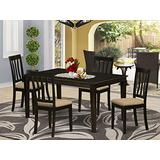 East West Furniture CAAN5-CAP-C 5 Pc Dining Set – 4 Dining Room Chairs with Linen Fabric Seat and Slatted Back-Rectangular Top and 4 Legs Wood Kitchen Table (Cappuccino Finish)