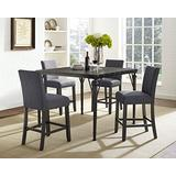 Roundhill Furniture Biony 5-Piece Espresso Wood Counter Height Dining Set with Gray Fabric Nail head Chairs,
