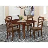 East West Furniture MILA5-MAH-C 5-Piece Kitchen Dining Room Set – 4 Dining Room Chairs and Dining Room Table – Rectangular Table Top – Ladder Back and Linen Fabric Chair Seat (Mahogany Finish)