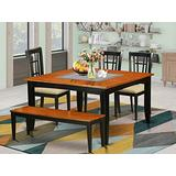 6 PC Dining room set with bench-Dining Table and 4 Wood Dining Chairs plus a bench