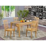 East West Furniture Modern Dining Table Set 5 Pc - Oak Color Wooden Kitchen Chairs Seat - Oak Finish Rectangular Kitchen Table and Structure