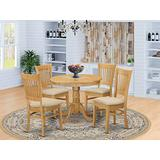 East West Furniture ANVA5-OAK-C 5 Pc Kitchen Set – 4 Chairs with Linen Fabric Seat and Slatted Back-Round Top and Pedestal Legs Wood Dining Room Table (Oak Finish)