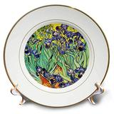 3dRose cp_155630_1 Irises by Vincent Van Gogh 1889-Purple Flowers Iris Garden-Copy of Famous Painting by The Master-Porcelain Plate, 8-Inch